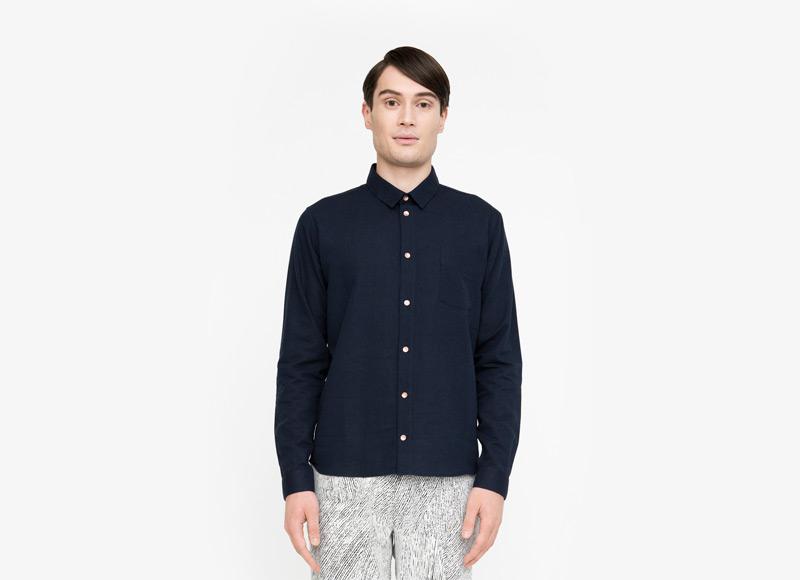 Frisur – pánská modrá košile s dlouhým rukávem | Podzimní a zimní oblečení – pánské