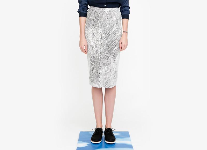 Frisur – sukně pod kolena, dámská, černo-bílá, se vzorem | Podzimní a zimní oblečení – dámské