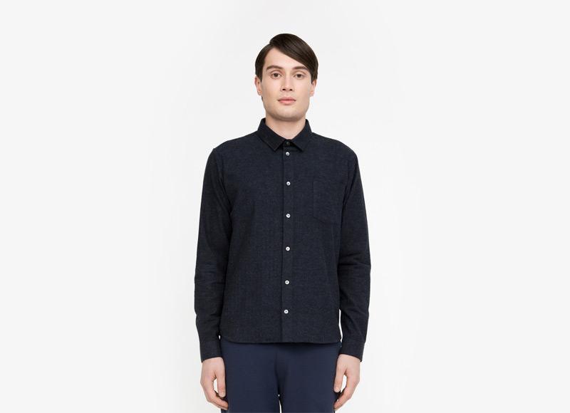 Frisur – pánská tmavě modrá košile s dlouhým rukávem | Podzimní a zimní oblečení – pánské