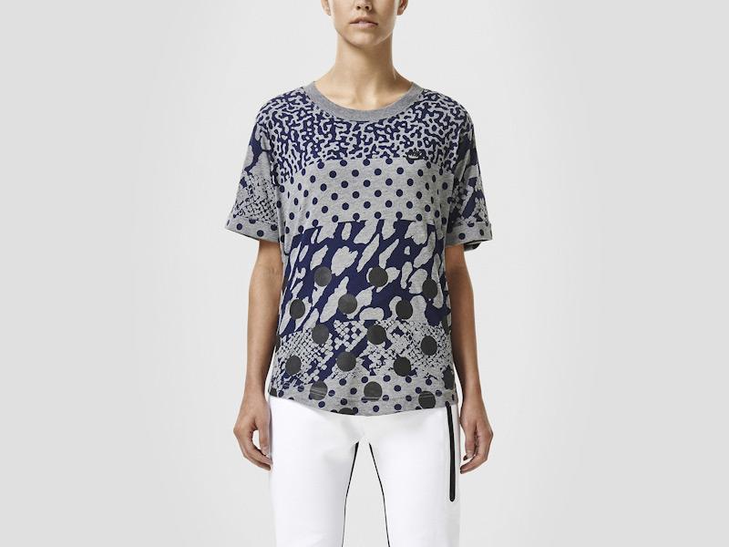 Nike – dámské triko se vzory, šedé, sportovní, reflexní prvky, tričko | Color Block