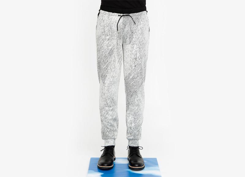 Frisur – pánské kalhoty s úplety, černobílý vzor | Podzimní a zimní oblečení – pánské