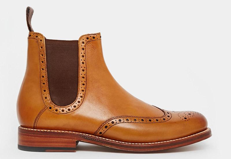 Boty perka – Chelsea Boots – pánské, kožené, – hnědé, proražený vzor, zdobení | Kotníkové boty – pánské