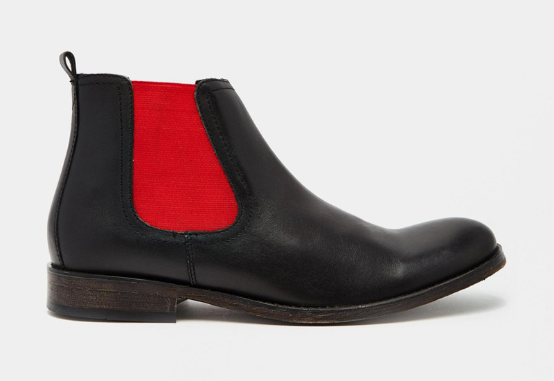 Boty perka – Chelsea Boots – pánské, kožené, – černé, červené | Kotníkové boty – pánské
