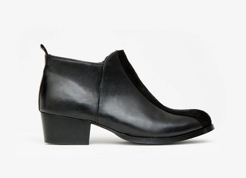 Frisur – kotníkové boty na podpatku, dámské, černé, kožené, bez tkaniček | Podzimní a zimní boty – dámské
