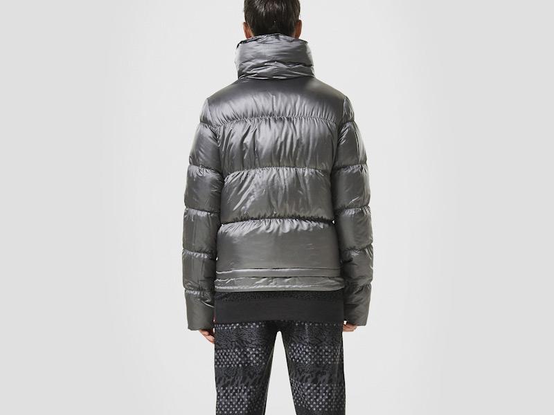 Nike – dámská péřová zimní bunda, prošívaná, šedá, sportovní, zimní bunda | Color Block