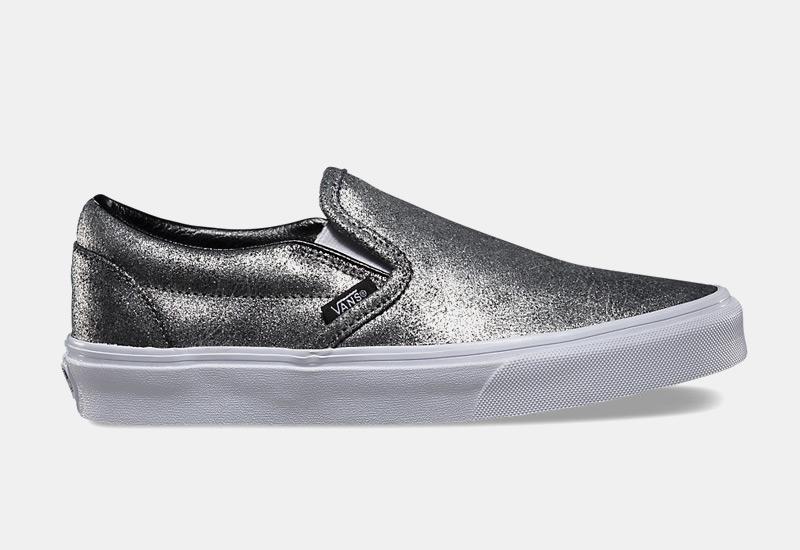 Boty Vans classic Slip On – dámské, stříbrné, metalické tenisky, sneakers bez tkaniček