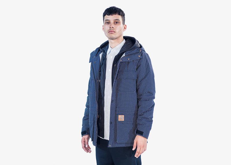 Carhartt WIP – pánská zimní bunda s kapucí, modrá, bílé puntíky | Pánské značkové podzimní/zimní oblečení