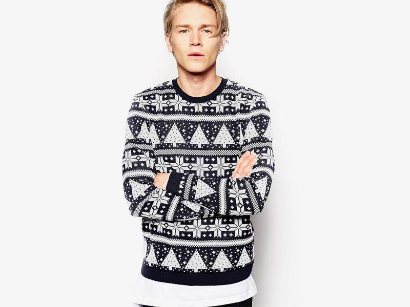 Vánoční svetr – pánský pletený svetr s norským vzorem, černo-bílý