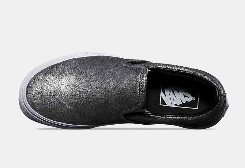 Boty Vans classic Slip On – stříbrné, dámské, metalické tenisky bez tkaniček, sneakers