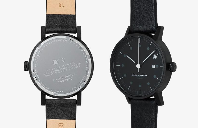 Ghostly International – černé náramkové hodinky, designové, kožený řemínek | Pánské a dámské hodinky