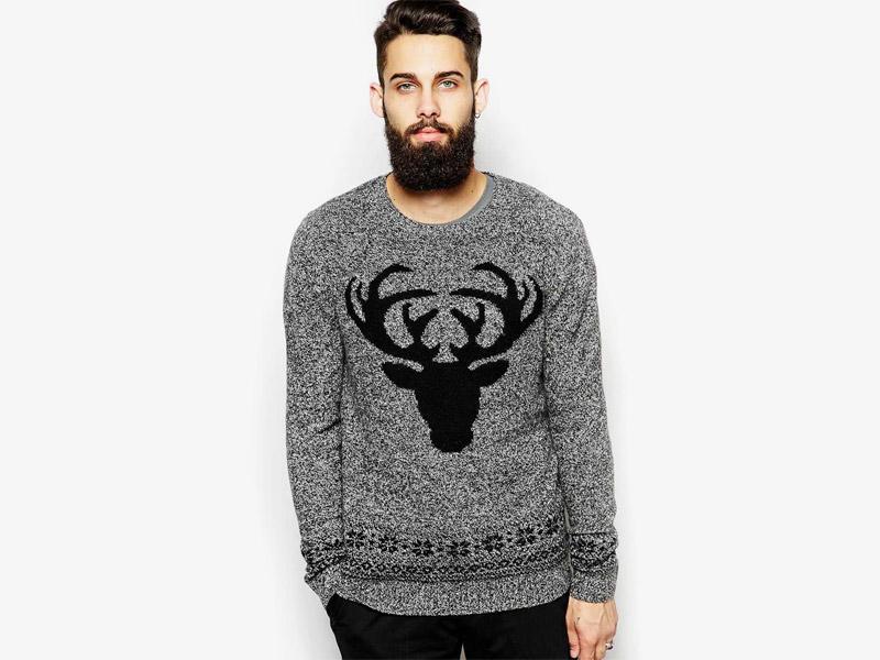 Vánoční svetr – pánský pletený svetr se sobem, šedý