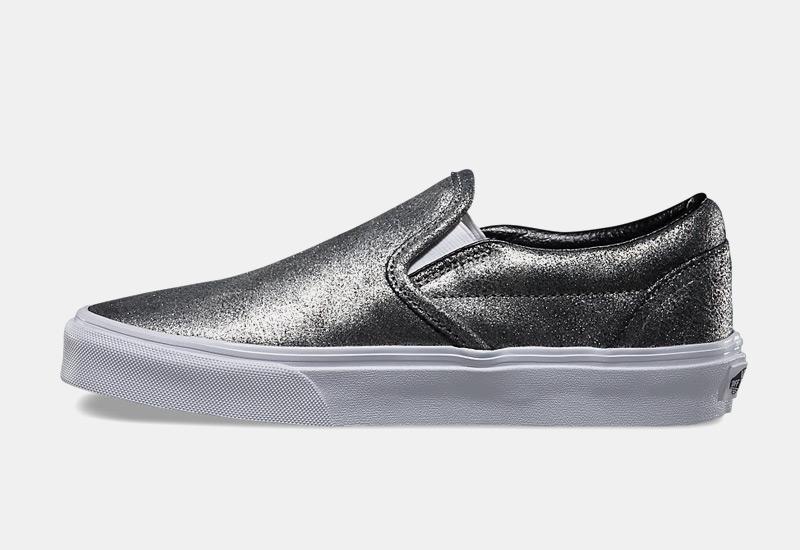 Boty Vans classic Slip On – metalické tenisky bez tkaniček, sneakers, dámské, stříbrné