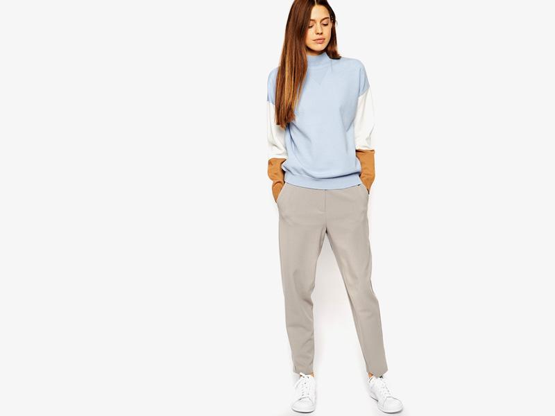 Dámské svetry roláky a pulovry – dámský pulovr Asos, rolák, svetr, modrý, bílo-hnědé rukávy