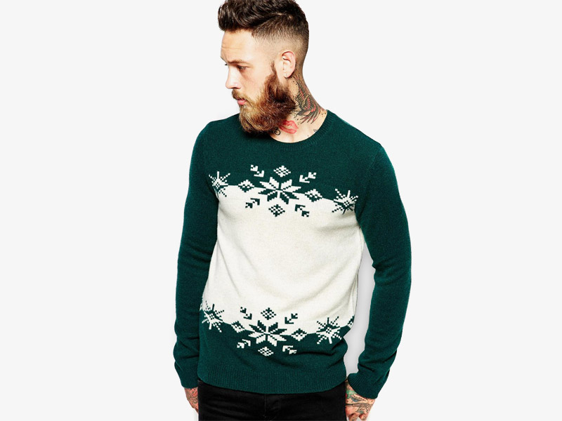Vánoční svetr – pánský pletený svetr s norským vzorem, zeleno-bílý