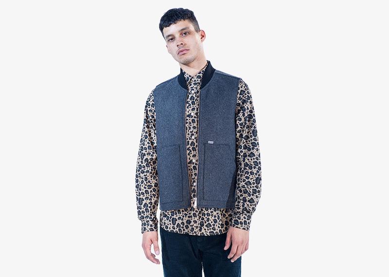 Carhartt WIP – pánská tmavě modrá vesta, flekatá košile s dlouhým rukávem | Pánské značkové podzimní/zimní oblečení