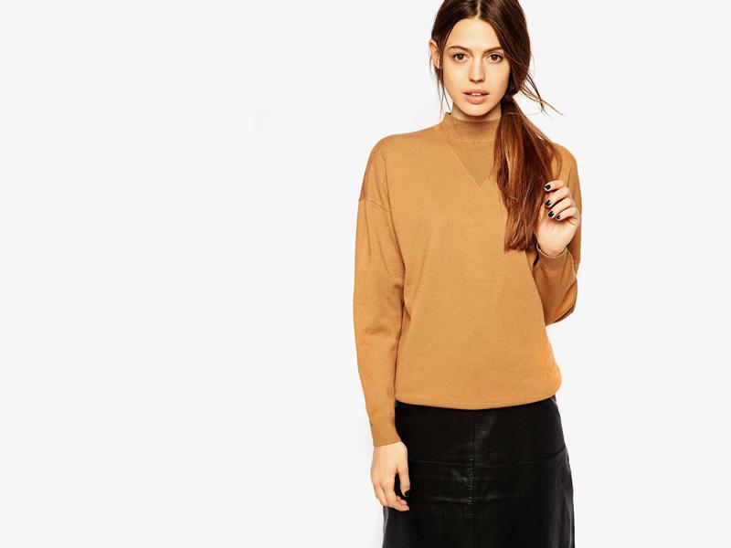 Dámské svetry roláky a pulovry – dámský svetr Asos, rolák, pulovr, hnědý, pískový
