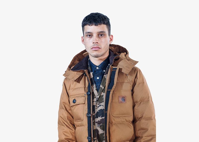 Carhartt WIP – pánská zimní bunda s kapucí, prošívaná, béžová, hnědá | Pánské značkové podzimní/zimní oblečení