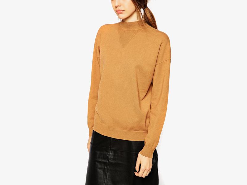 Dámské svetry roláky a pulovry – dámský pulovr Asos, rolák, svetr, hnědý, pískový