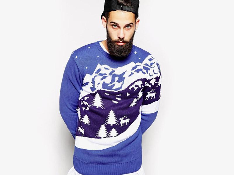 Vánoční svetr – pánský pletený svetr, modrý, se soby a krajinou