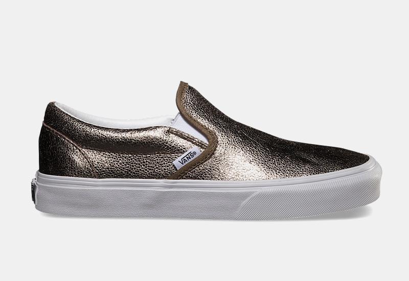 Boty Vans classic Slip On – dámské, zlaté, metalické tenisky, sneakers bez tkaniček