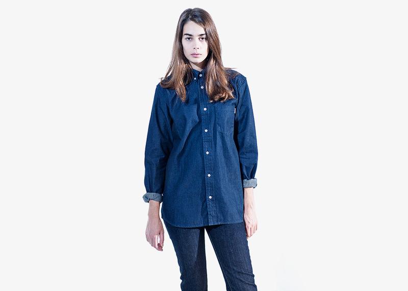 Carhartt WIP – dámská džínová košile s dlouhým rukávem, denimová, jeansová, modrá | Dámské značkové podzimní/zimní oblečení