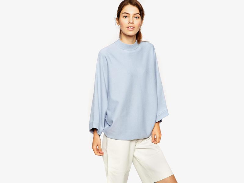 Dámské svetry roláky a pulovry – dámský svetr Asos, rolák, pulovr, bledě (světle) modrý