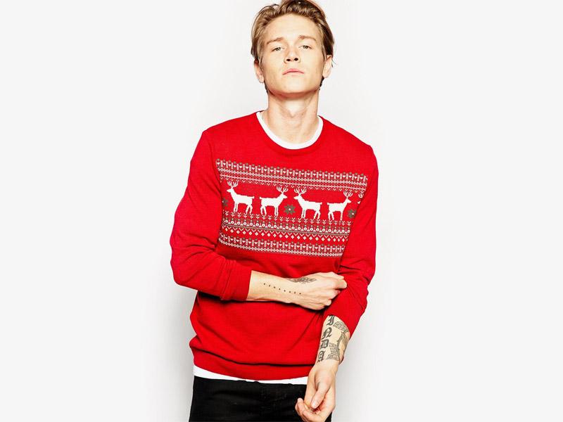Vánoční svetr se soby, pánský, červený