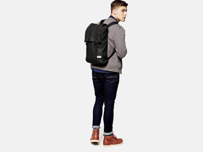 Batoh D-struct z nylonu – černý, vzhled kůže, batoh na záda, ruksak | Stylové batohy