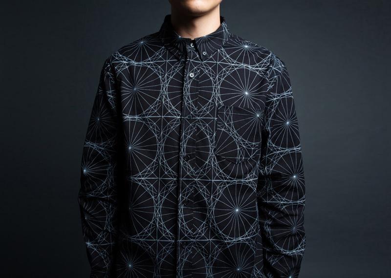 Black Scale – černá košile s potiskem a dlouhými rukávy, geometrický vzor, pánská | Pánské značkové oblečení