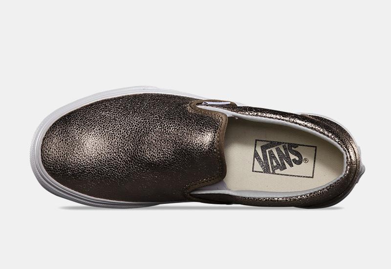 Boty Vans classic Slip On – zlaté, dámské, metalické tenisky bez tkaniček, sneakers