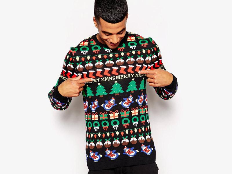 Vánoční svetr – pánský, černý s barevnými vánočními motivy (sněhulák, stromeček, dárky)