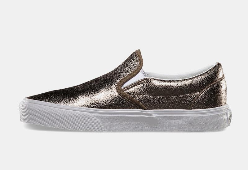 Boty Vans classic Slip On – metalické tenisky bez tkaniček, sneakers, dámské, zlaté
