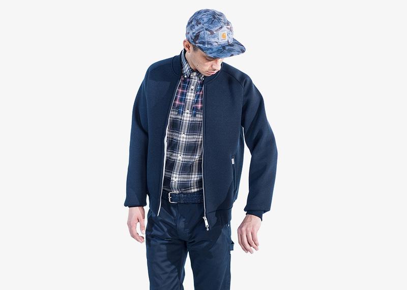 Carhartt WIP – pánský modrý bomber, jacket, krátká podzimní bunda do pasu | Pánské značkové podzimní/zimní oblečení
