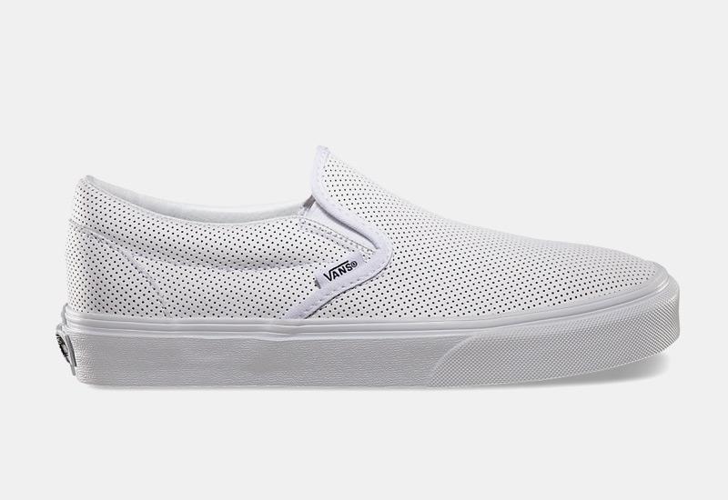 Boty Vans classic Slip On – dámské, pánské, bílé, perforované, sneakers bez tkaniček