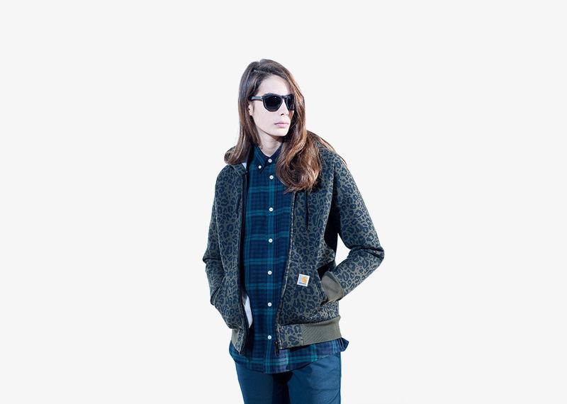 Carhartt WIP – dámský bomber, jacket, krátká bunda do pasu, leopardí vzor, gepardí vzor, olivová zelená, károvaná košile | Dámské značkové podzimní/zimní oblečení