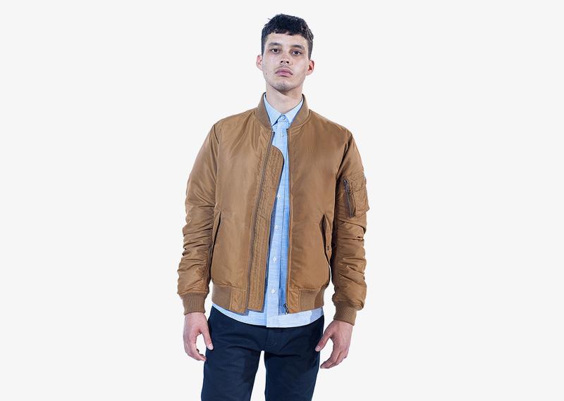 Carhartt WIP – pánský béžový (hnědý) bomber, jacket, krátká podzimní bunda do pasu | Pánské značkové podzimní/zimní oblečení