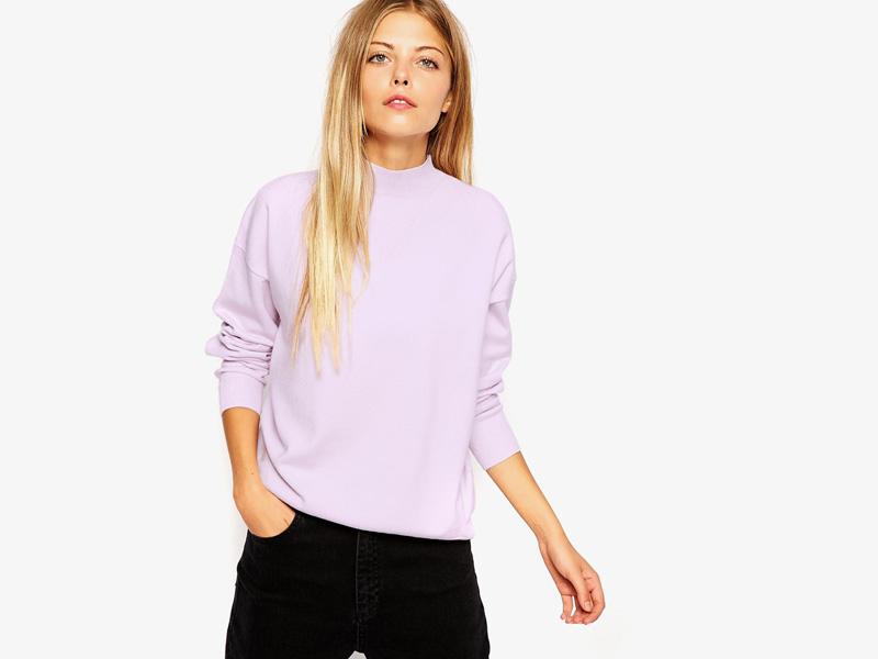 Dámské svetry roláky a pulovry – dámský svetr Asos, rolák, pulovr, světle růžový, bledě růžový