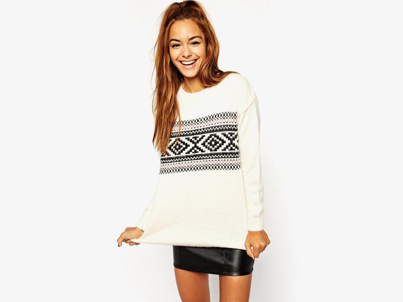 Vánoční svetr – dámský svetr s norským vzorem, bílý