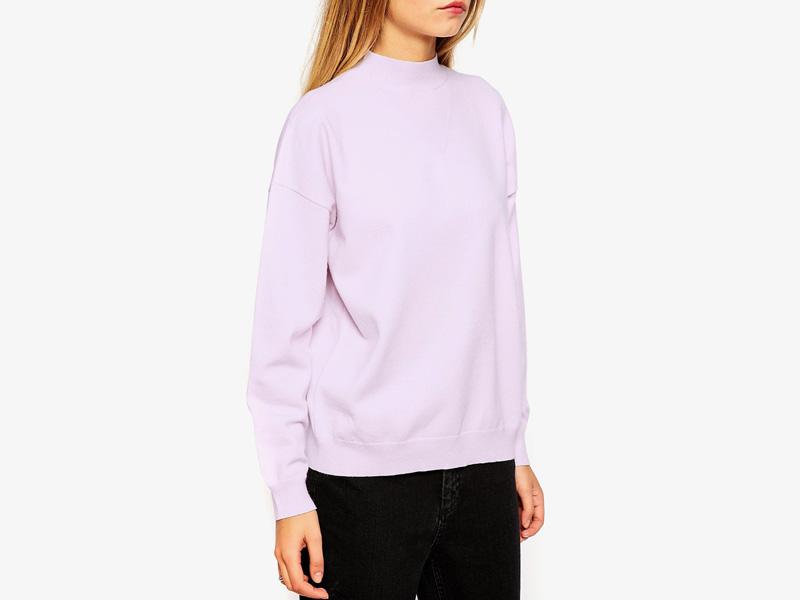 Dámské svetry roláky a pulovry – dámský pulovr Asos, rolák, svetr, světle růžový, bledě růžový