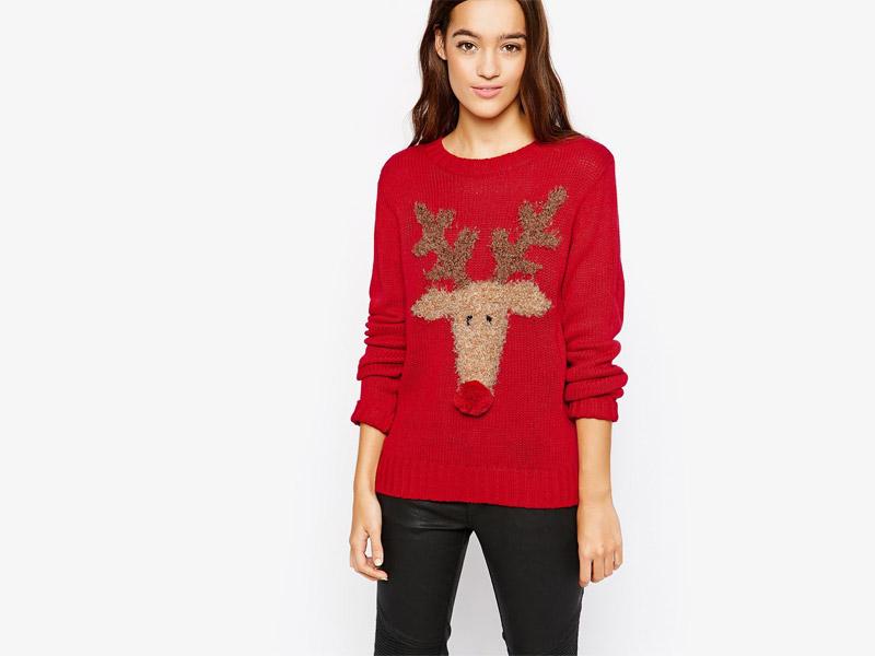 Vánoční svetr se sobem, dámský, červený, pletený svetr