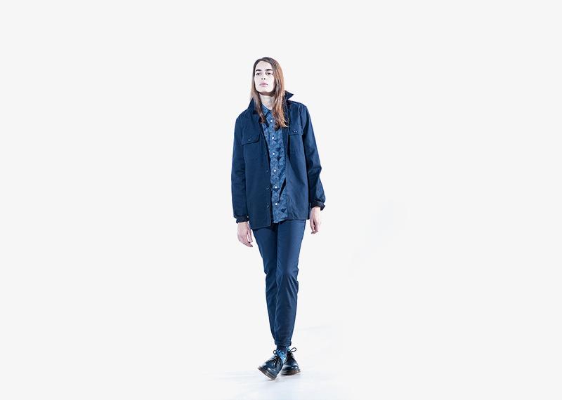Carhartt WIP – dámská modrá bunda se stojáčkem bez kapuce, podzimní, modré kalhoty | Dámské značkové podzimní/zimní oblečení