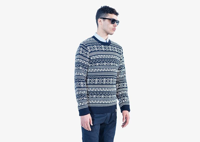 Carhartt WIP – modrý svetr se vzorem, pánský | Pánské značkové podzimní/zimní oblečení