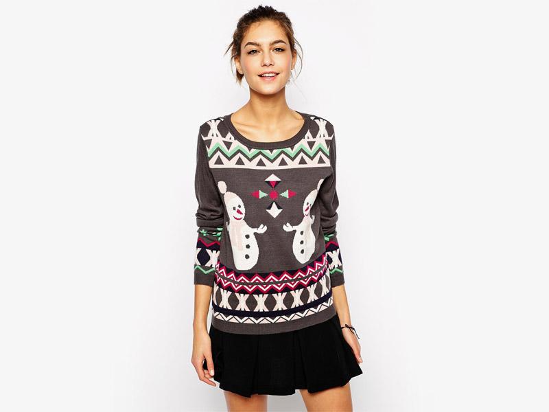 Vánoční svetr se sněhuláky, dámský svetr, šedý