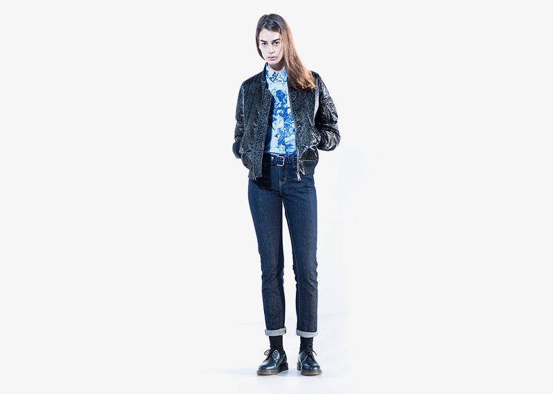 Carhartt WIP – modré dámské džíny (jeansy), leopardí bomber, jacket, bunda do pasu | Dámské značkové podzimní/zimní oblečení