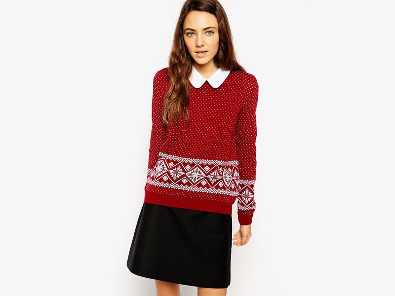 Vánoční svetr s norským vzorem, dámský svetr s vánočními motivy