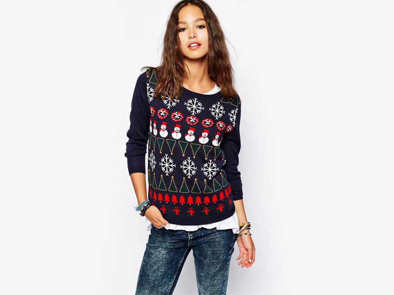 Vánoční svetr se sněhuláky, vločkami a zvonky, dámský svetr