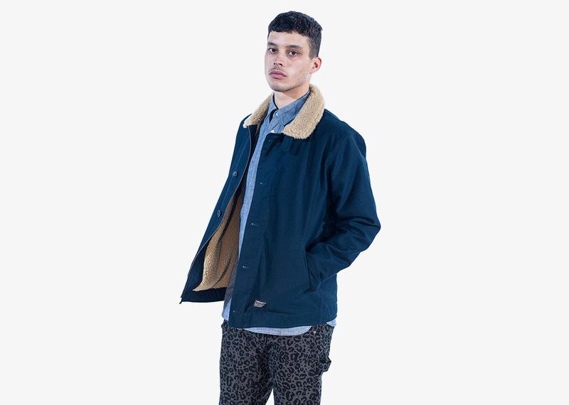 Carhartt WIP – pánská zimní bunda s kožešinou, modrá, bez kapuce | Pánské značkové podzimní/zimní oblečení