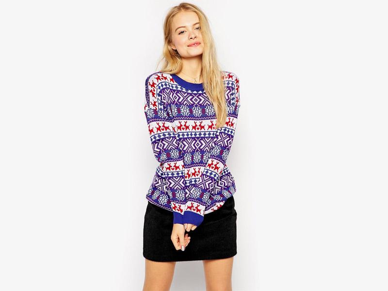 Vánoční svetr s norským vzorem, dámský svetr se soby