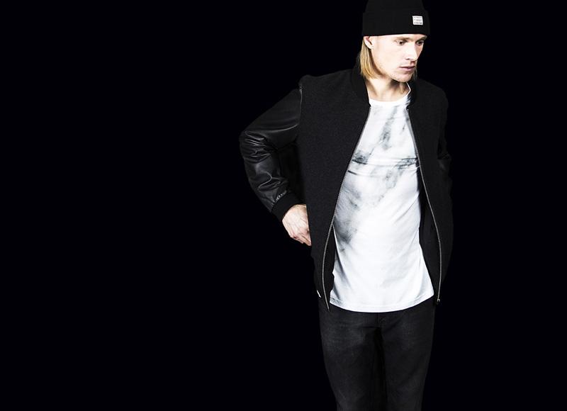 RVLT (Revolution) – pánská bunda, kožené rukávy, černý bomber | Pánské značkové oblečení, móda