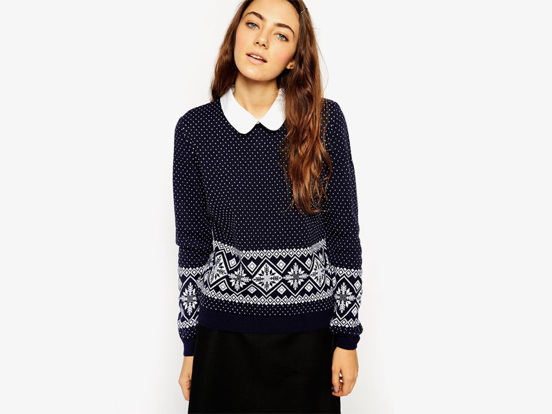 Vánoční svetr s norským vzorem, dámský, černý